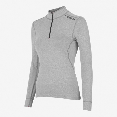 Fusion C3 Zip Neck Light Grey Dame